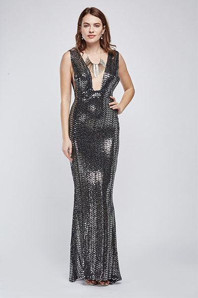 Low Plunge Sequin Embellished Maxi Dress